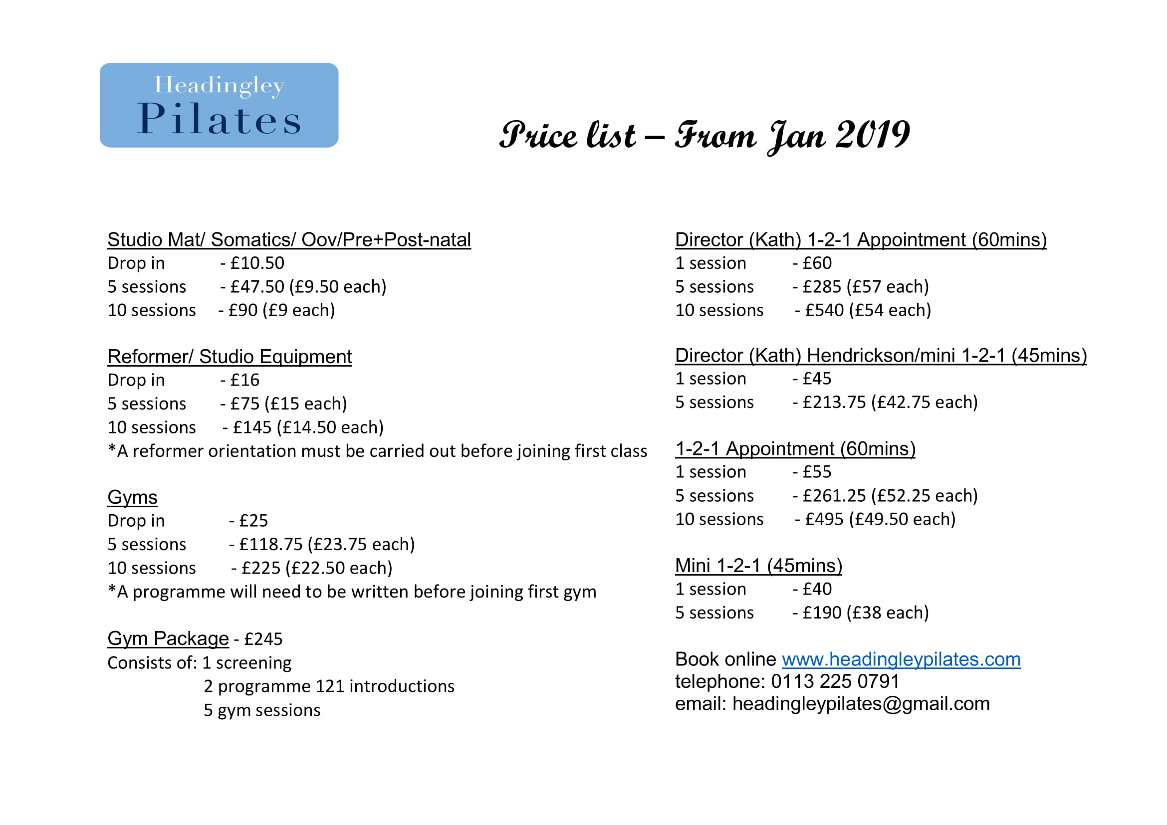 Price List Headingley Pilates