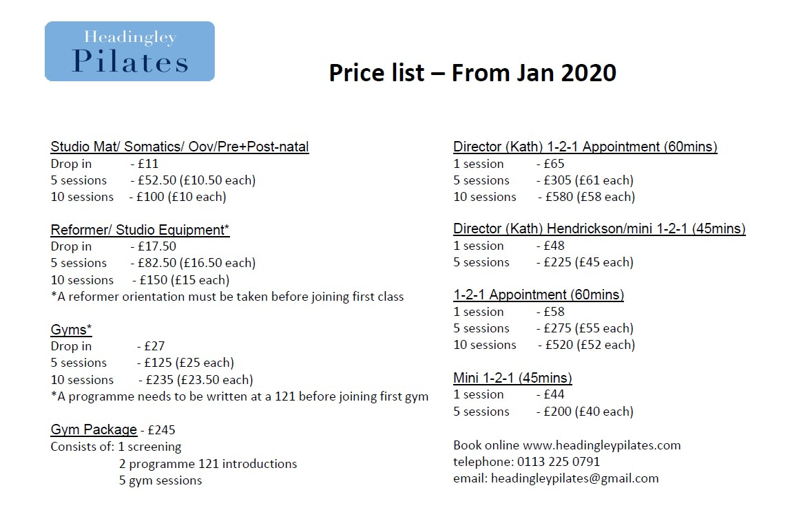 Price list - From Jan 2020